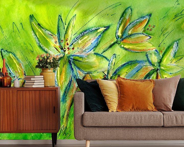 Beispiel fototapete: frische grüne Lilien von Claudia Gründler