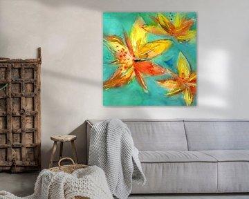 Lilien Türkis - Gelb von Claudia Gründler