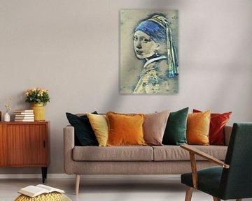 Meisje met de Parel en de Grote Golf van Kanagawa van Slimme Kunst.nl