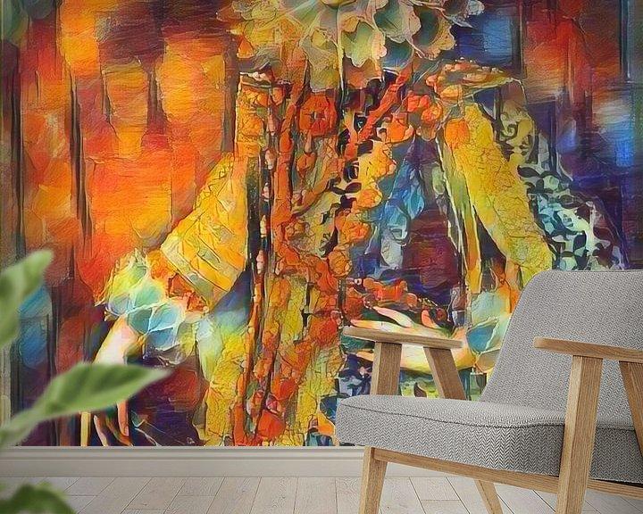 Sfeerimpressie behang: Kleurrijk schilderij Koningin Elizabeth van Bourbon van Slimme Kunst.nl