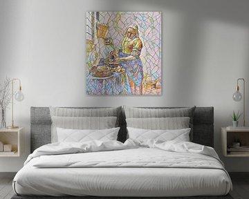 Het Melkmeisje van Vermeer in Mozaïek van Slimme Kunst.nl