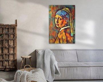 Kleurrijk Meisje met de Parel van Johannes Vermeer