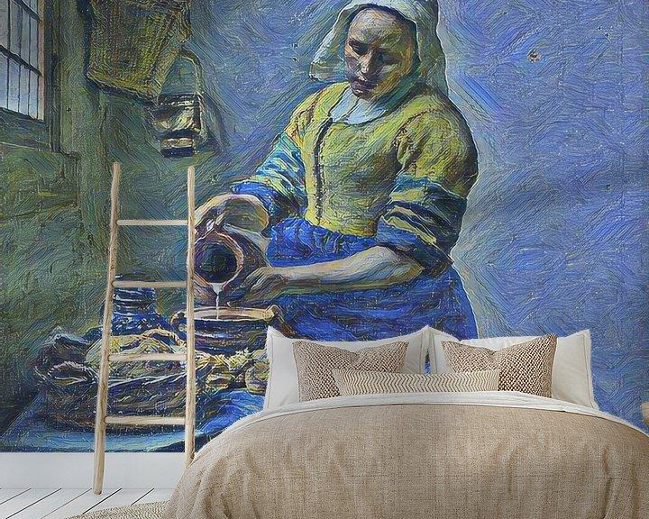 Sfeerimpressie behang: Het Melkmeisje van Johannes Vermeer door de ogen van Vincent van Gogh van Slimme Kunst.nl