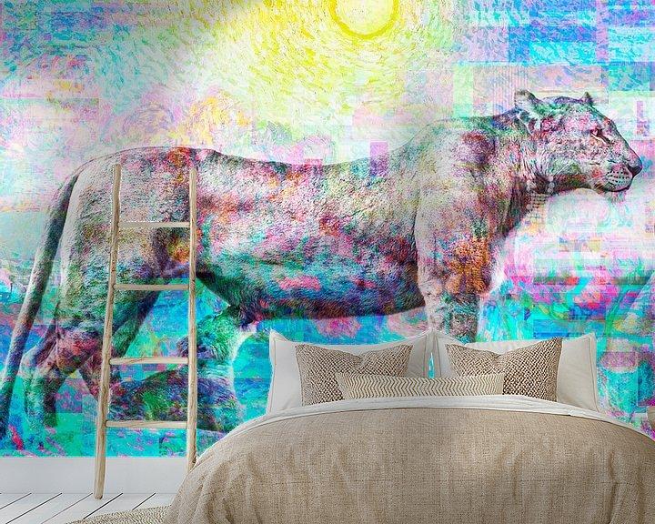 Sfeerimpressie behang: Art Party Leeuwin met Van Gogh Brandt en Zanolino van Giovani Zanolino