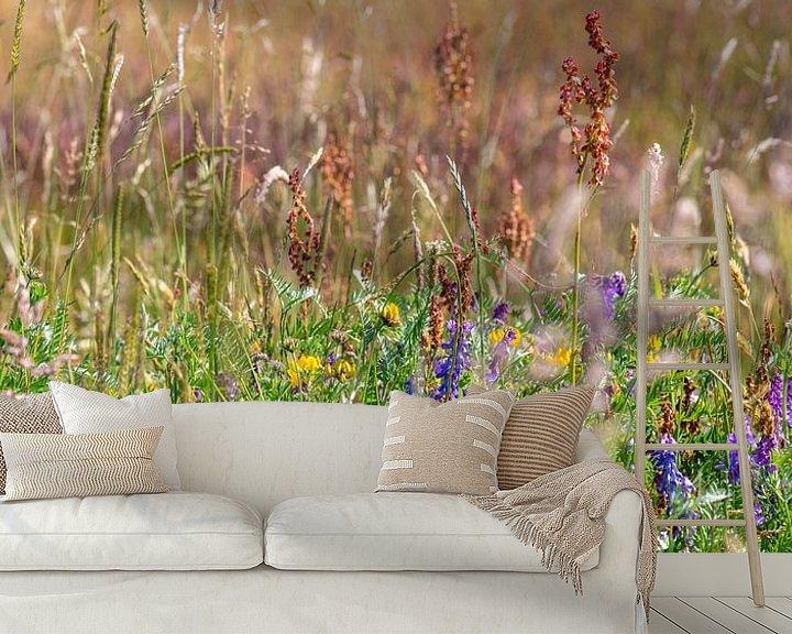 Sfeerimpressie behang: grasland met paars bloeiende wikke van Hanneke Luit