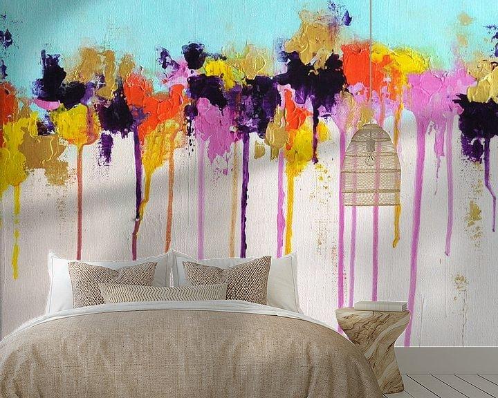 Sfeerimpressie behang: Aqua Rain van Maria Kitano