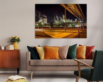 Nachtszene Petrochemische Industrie im Hafen von Antwerpen von Daan Duvillier