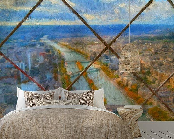 Sfeerimpressie behang: Uitzicht Eiffeltoren van Greta Lipman