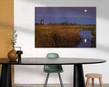 Volle maan bij de Noordermolen, Groningen, Nederland van Henk Meijer Photography
