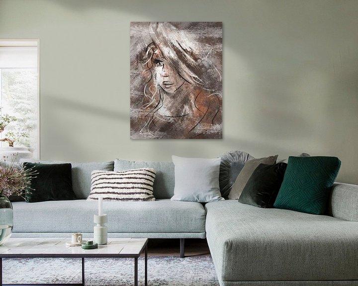 Beispiel: Abstraktes Porträt junge Frau von Emiel de Lange