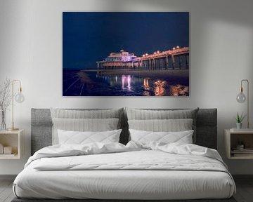 Kleurrijke nachtscène van de Belgium Pier in Blankenberge van Daan Duvillier