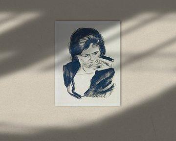 Frauenkopf mit der Hand am Mund, EDVARD MUNCH, 1920 von Atelier Liesjes
