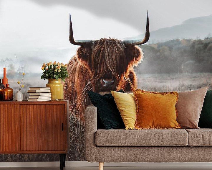 Sfeerimpressie behang: Schotse Hooglander van Cuno de Bruin