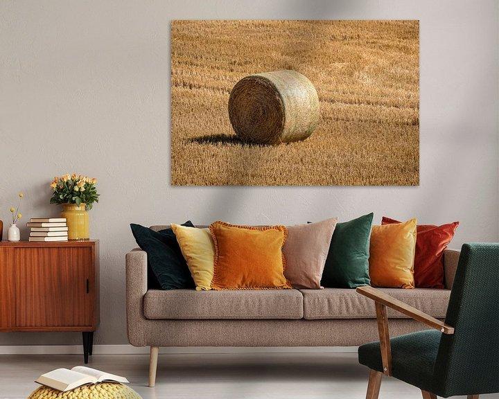 Beispiel: Gemähtes Kornfeld mit großen runden Heuballen in Reihen von Harry Adam