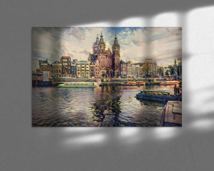 Sfeerimpressie: Klassiek schilderij Amsterdam: Centraal station Amsterdam in impressionistische stijl van Slimme Kunst.nl