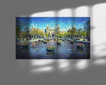 Stijlvol kunstwerk Amsterdam: Rijksmuseum Amsterdam in stijl van Van Gogh