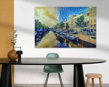 Schilderij Amsterdam: Amsterdamse Grachten in de stijl van Van Gogh