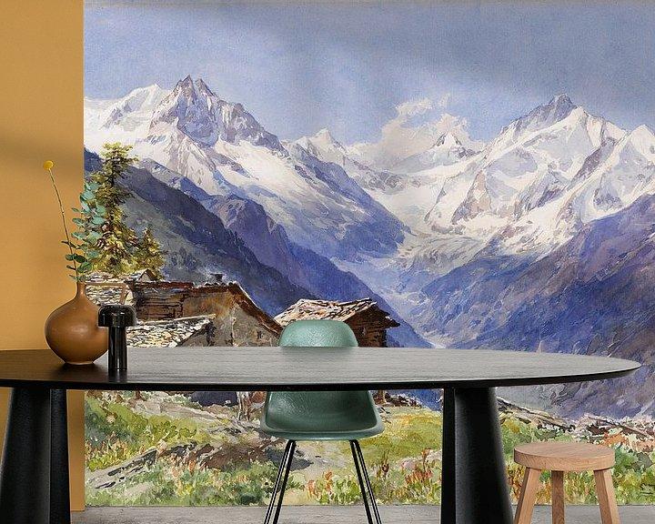 Beispiel fototapete: Die Alpe Barneuza (Wallis), EDWARD THEODORE COMPTON, Um 1900 von Atelier Liesjes