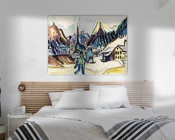 Ansicht von Davos (Landschaft bei Davos im Winter), ERNST LUDWIG KIRCHNER, Um 1925 von Atelier Liesjes