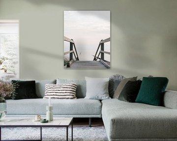 Houten trap | Entree strand | Zee | Zeeland |  Holland van Stories by Pien