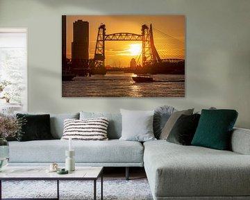 De Hef tijdens zonsondergang te Rotterdam.