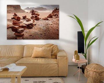 Steenmannetjes in Wadi Rum, Jordanië van Melissa Peltenburg