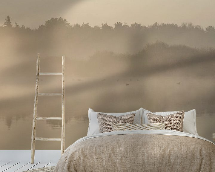 Sfeerimpressie behang: Ven in de mist. van Anneke Hooijer
