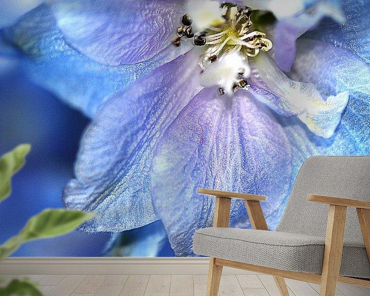 """Beispiel fototapete: Nahaufnahme eines blauen Ritterspornes (Rittersporn """"Blauer Vogel"""" ) von Flower and Art"""