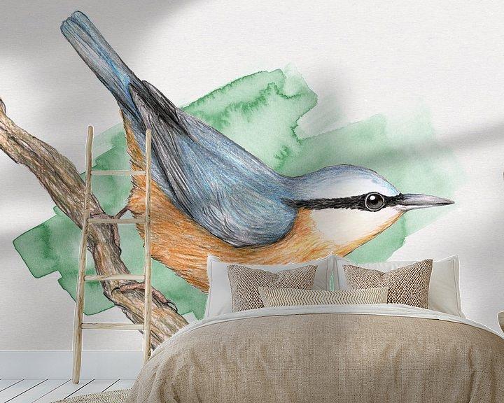 Sfeerimpressie behang: Boomklever van Bianca Wisseloo