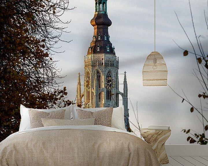 Sfeerimpressie behang: Zonsopkomst bij Grote Kerk Breda van JPWFoto