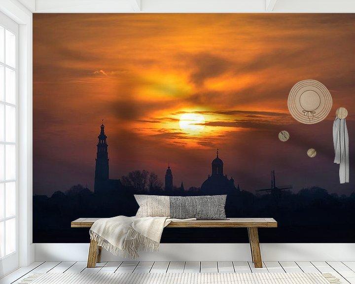 Sfeerimpressie behang: Walking on Fire (skyline Middelburg) van Thom Brouwer