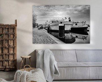 Schiffe auf der Spaarne (schwarz-weiß) von SuparDisign