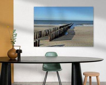 hölzerne Wellenbrecher entlang des Strandes in die Nordsee in der Nähe des Dorfes Domburg , Zeeland von Robin Verhoef