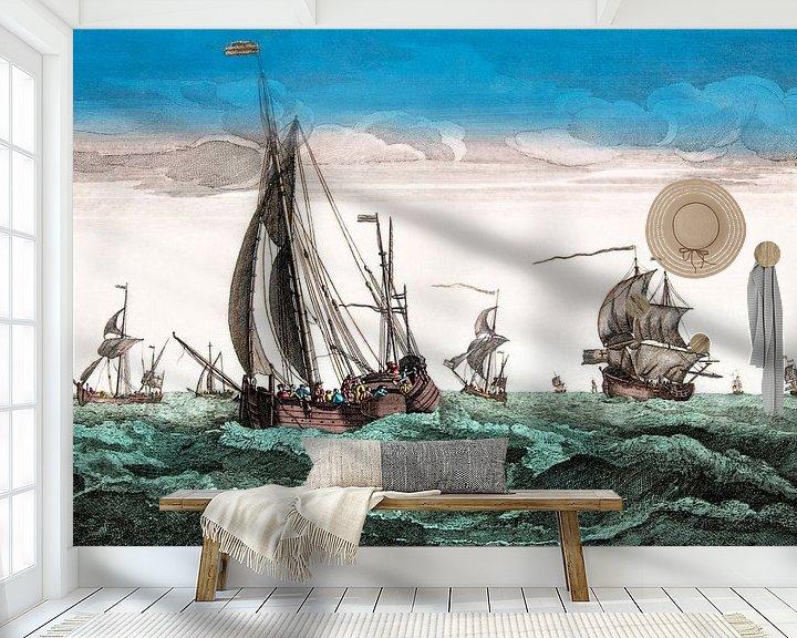Sfeerimpressie behang: Ships1780 van Liesbeth Govers voor omdewest.com