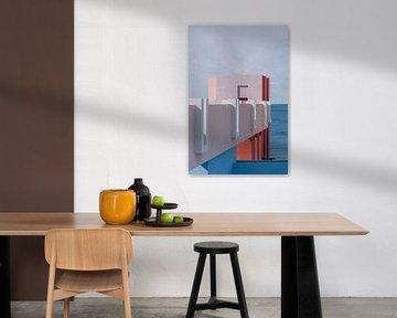 Muralla Roja Reisefotografie Druck ᝢ abstraktes Pastell-Architekturfoto von Hannelore Veelaert