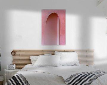 Rosa Architektur ᝢ abstrakte Architekturfotografie ᝢ Texturen Bogenlinien von Hannelore Veelaert