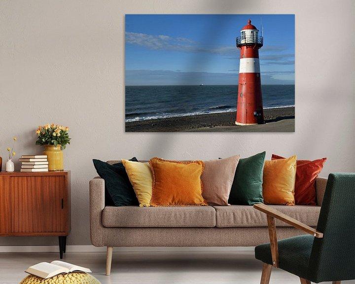 Beispiel: klassischer Leuchtturm an der Meeresküste bei Westkappele, Niederlande von Robin Verhoef