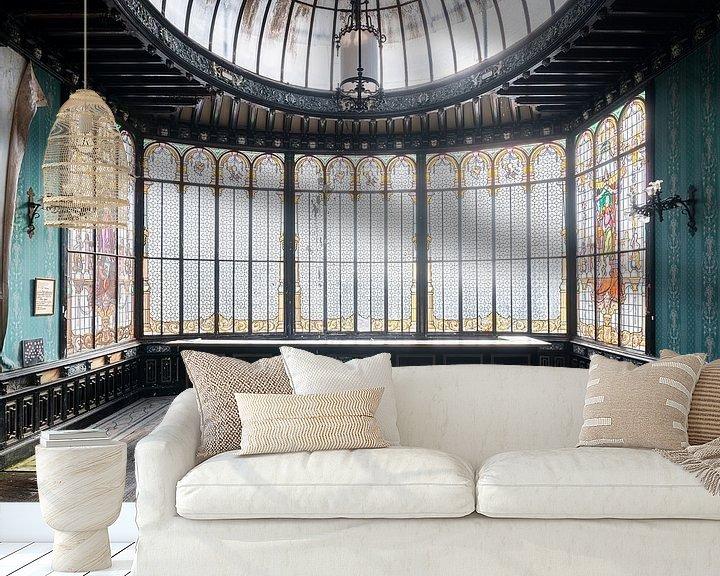 Sfeerimpressie behang: Prachtige Verlaten Wintertuin. van Roman Robroek