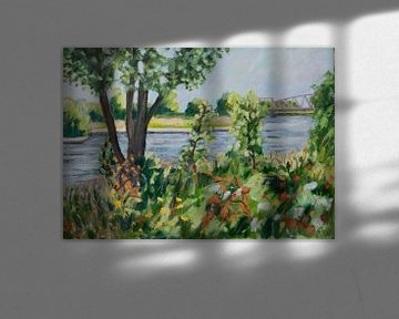Die IJssel bei Zutphen von Antonie van Gelder Beeldend kunstenaar