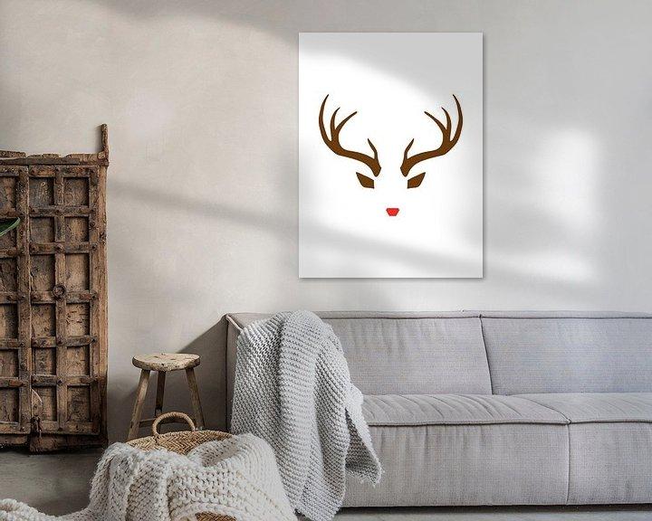 Sfeerimpressie: Rudolph the Red-Nosed Reindeer - Minimalistische Kerst Print van MDRN HOME