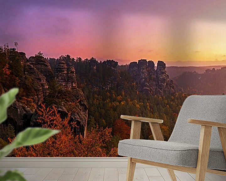 Sfeerimpressie behang: Zonsopgang in Saksisch Zwitserland van Frank Herrmann