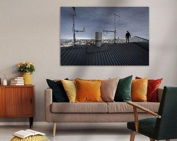 Skyline von Gent mit Person von Siebe Taeleman