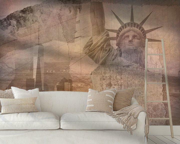 Beispiel fototapete: New York City Collage, orange (für andere Farben siehe Album-Collagen) von Anita Meis