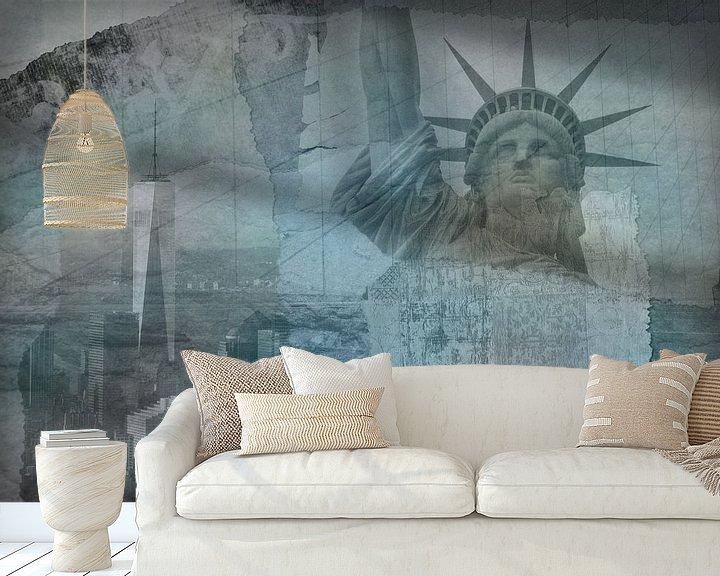 Beispiel fototapete: New York City Collage, blau (für andere Farben siehe Album-Collagen) von Anita Meis