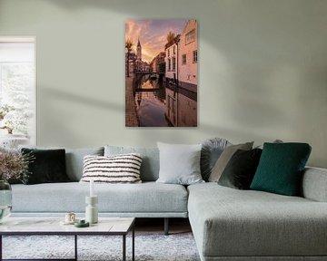 Zonsondergang bij de Langegracht in Amersfoort van Dennisart Fotografie
