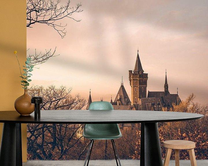 Beispiel fototapete: Schloss Wernigerode Sonnenuntergang und Nebel von Oliver Henze