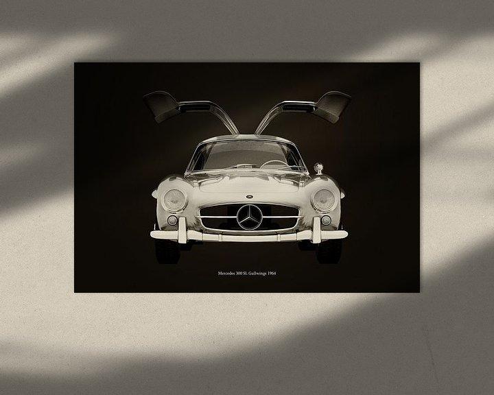 Sfeerimpressie: Mercedes 300SL Gullwings 1964 voorzijde deuren open B&W van Jan Keteleer