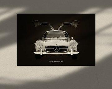 Mercedes 300SL Gullwings 1964 voorzijde deuren open B&W