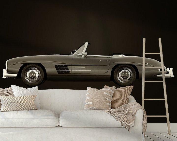 Sfeerimpressie behang: Mercedes 300SL roadster 1953 B&W van Jan Keteleer