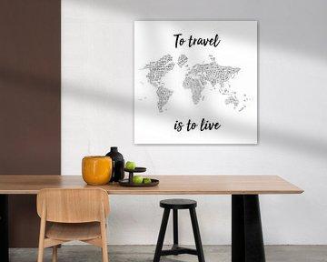 Typografische Wereldkaart Wandcirkel met Quote | Nederlandstalig